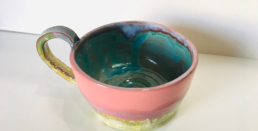 Pink and yellow wide mouth mug