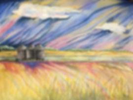 """24x18"""" """"Prairie Bins""""  Watercolour and g"""