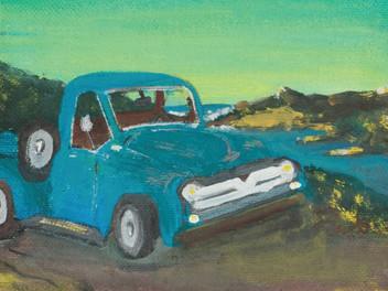 Dubost Winery Artwork   Blue Truck