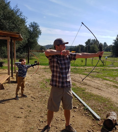 Father Son Archery Fort Cross Old Timey