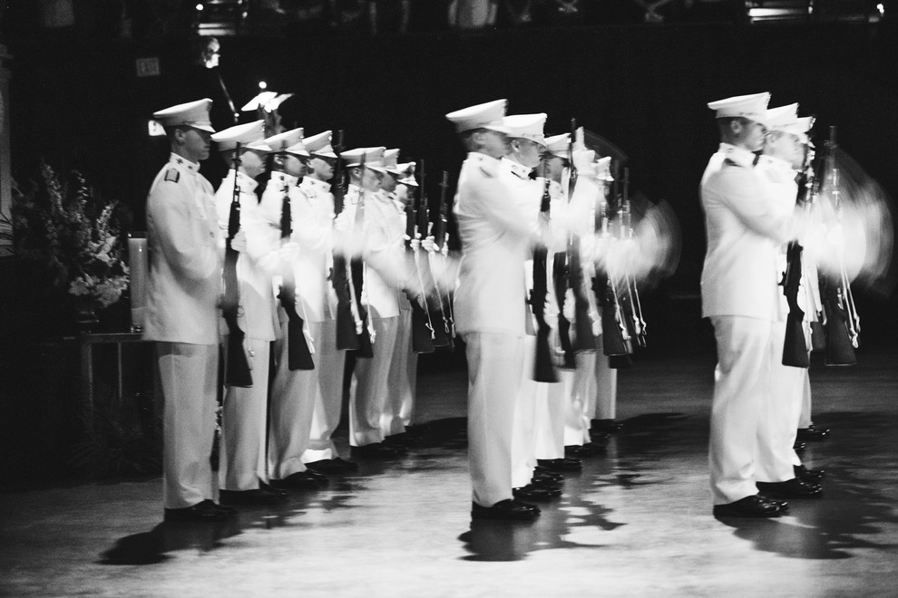 The Ross Volunteers perform a 21-gun salute at the campus Muster ceremony in Reed Arena. Muster is a tradition held on April 21 of each year to honor the lives of the Aggies who passed away since the last ceremony.