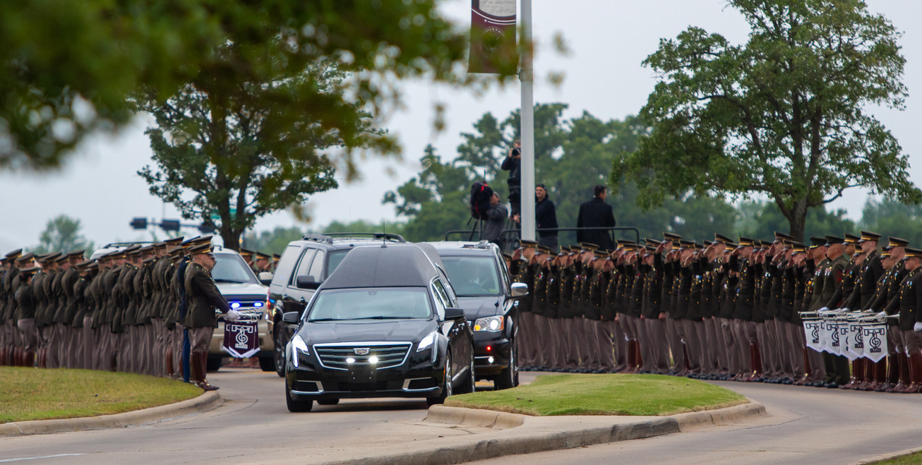 Over 700 cadets lined Barbara Bush Drive on April 21, 2018 to pay their respects to former first lady Barbara Bush as the funeral motorcade carried her to her final resting place behind the George Bush Presidential Library and Museum.
