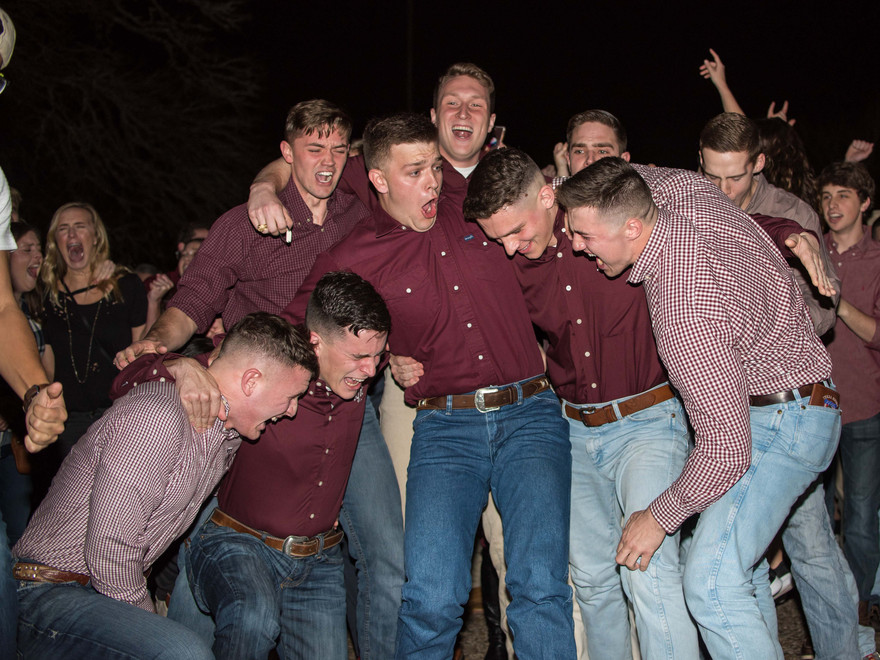 Reid Williams, Connor Joseph, Blake Jones, Gavin Suel and Karsten Lowe react to hearing their names called as the winners of the 2018-2019 Yell Leader elections.