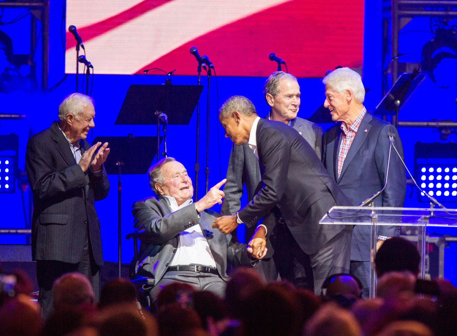 Former Presidents Jimmy Carter, George H.W. Bush, Barack Obama, George W. Bush and Bill Clinton gather on stage at the Deep From the Heart: One America Appeal benefit concert for Hurricane Harvey relief in College Station on Oct. 21, 2017.