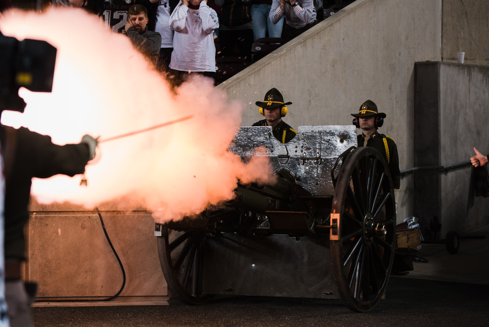 It is tradition for Parsons Mounted Cavalry to fire the canon after the Aggie football team scores a touchdown.
