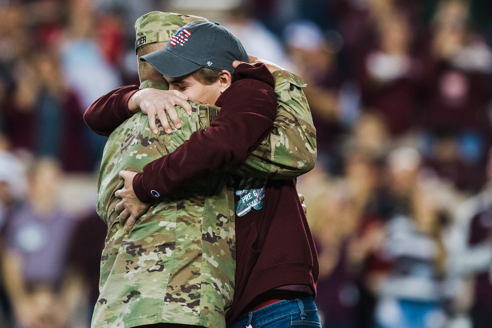 Freshman Tucker Dozier was surprised on the field by his father, Sgt. 1st Class James Dozier, who returned from overseas deployment earlier that week and announced his retirement. The game against the University of Alabama at Birmingham on Nov. 17, 2018 was also Military Appreciation Night.
