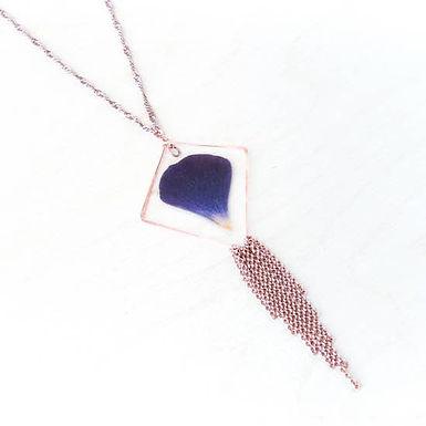 Purple Ranunculus Diamond Hoop Necklace by Impressed by Nature