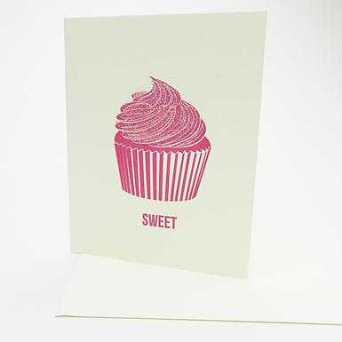 """Sweet"" (sparkle cupcake) Card by Coffee n Cream Press"