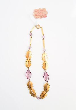 Authentic Art Deco Pillowed Brass & Art Glass Necklace