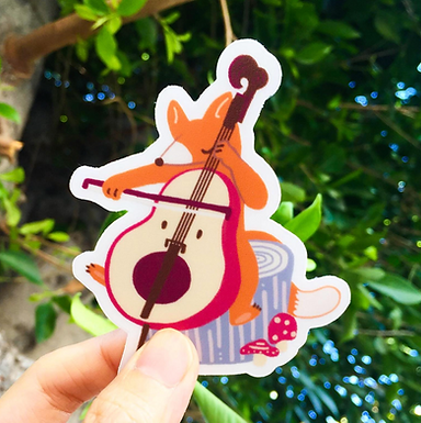 Cello Fox Musician Sticker by Harumo Bakery