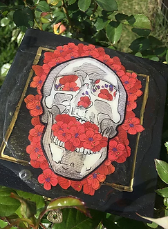 Death Blooms (Mixed Media Wooden Vessel) by Leeonnista
