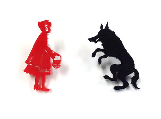 Red Riding Hood Meets Wolf Earrings by Maddison Cherie