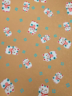 Lucky Cats on Gold #13 Chiyogami Full Sheet (18 x 24 inch)