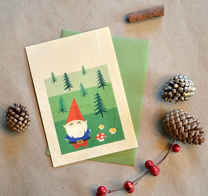 Holiday Gnome Wood Card by Pennie Post