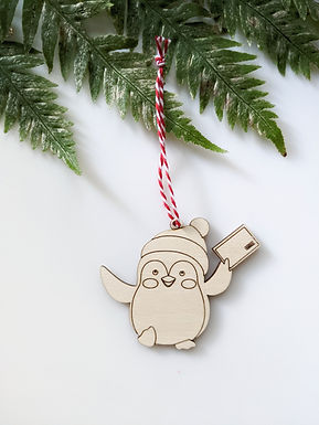 Sweet Penguin Wooden Ornament 2020 by MiaView(Customizable!)