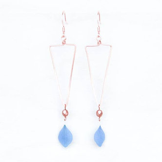 Blue Hydrangea Triangle Hoop Earrings with Copper Beads by Impressed by Nature