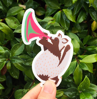 Raccoon Musician Sticker by Harumo Bakery