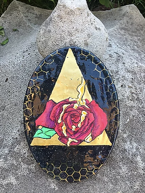 Sacred Geometry - Short of Life & Immortal (mixed media on wood) by Leeonista