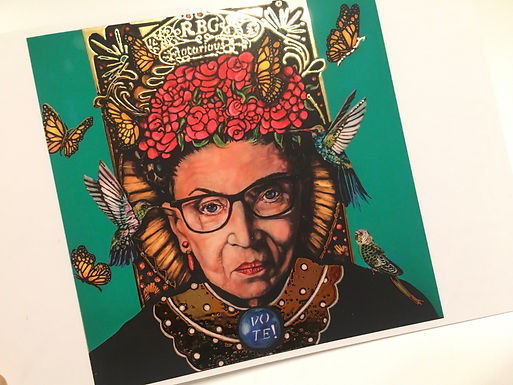 """""""Fight the Good Fight"""" ( the Notorious RBG) Postcard by Tulio Flores"""