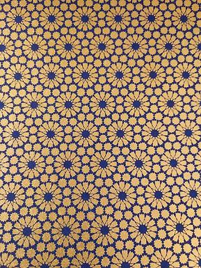 Gold Geometric Flower Pattern on Blue#23  Chiyogami Full Sheet (18 x 24 inch)