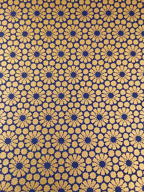 Gold Geometric Flower Pattern on Blue#23  Chiyogami Full Sheet (18 x 24 inch)