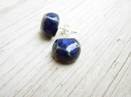 Blue Gem Ceramic Earrings by Carly Slade
