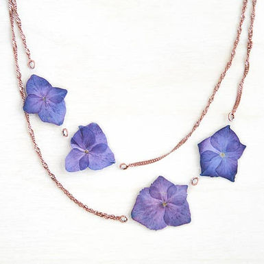 Purple Hydrangea Pressed Flower Necklace by Impressed by Nature