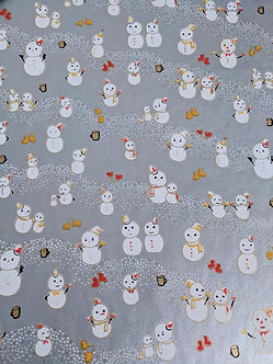 Snowmen on Silver #19 Chiyogami Full Sheet (18 x 24 inch)
