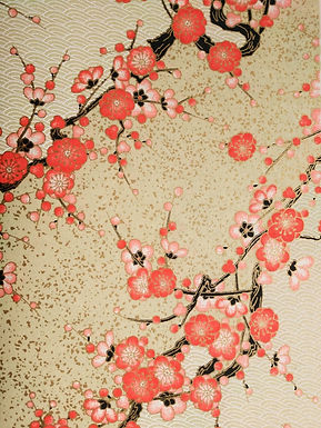 Red Plum Blossom Golden #7 Chiyogami Full Sheet (18 x 24 inch)