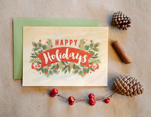 Happy Holidays Wooden Card by Pennie Post