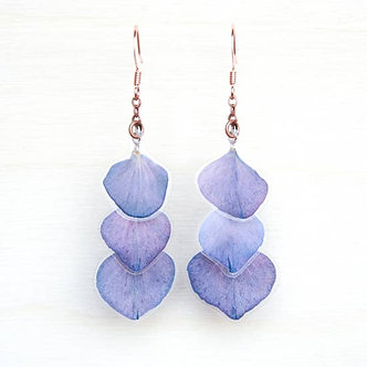 Purple Hydrangea Pressed Petal Layered Earrings by Impressed by Nature