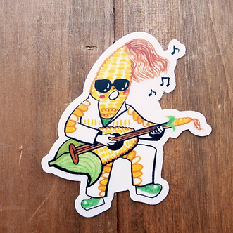 Corn Head Rocker Veggie Sticker by Harumo Bakery