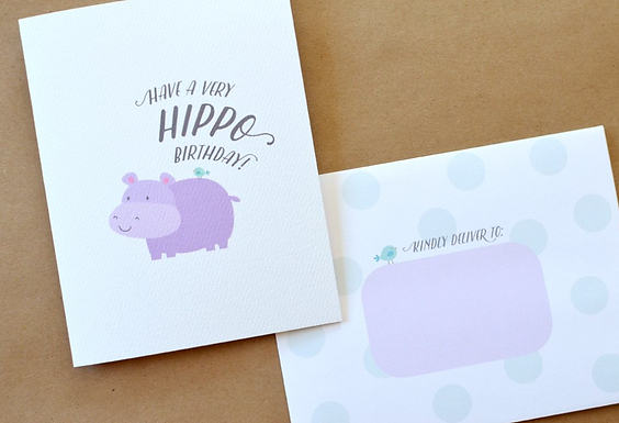 Have a Very Hippo Birthday Card by Pennie Post