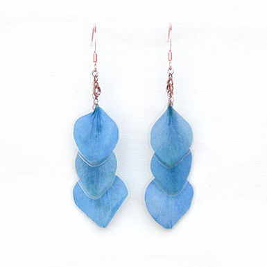 Blue Hydrangea Pressed Petal Layered Earrings by Impressed by Nature