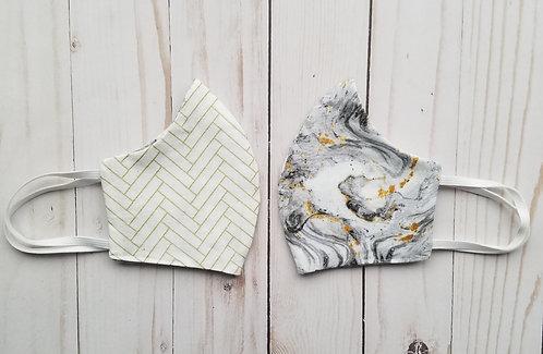 White Marble Reversible Cotton Handmade Mask by Eraeon