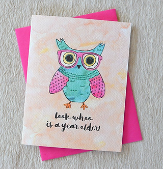 Look Whoo is a Year Older! (Owl) Card by Pennie Post