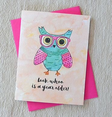 Look Whoo is a Year Older! Owl Card by Pennie Post