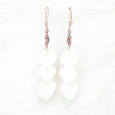 White Hydrangea Pressed Flower Petal Earrings Impressed by Nature