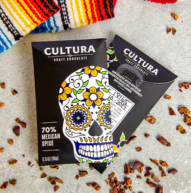 70% Mexican Spice Chile+Cinnamon+Almond Chocolate Bar by Cultura Chocolate