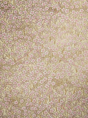 White + Pink Blossoms on Yellow #6 Chiyogami Full Sheet (18 x 24 inch)