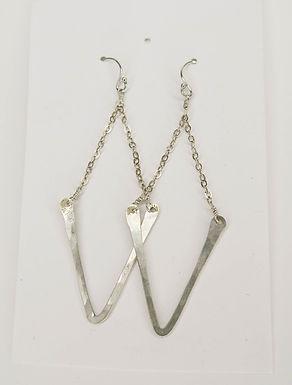 Hand-Beaten Silver Chevron Drop Earrings by Jody Howard