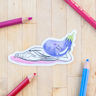 Lounging Eggplant Veggie Sticker by Harumo Bakery