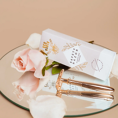 Rose Gold Safety Razor(w/5 spare blades) by EcoRoots