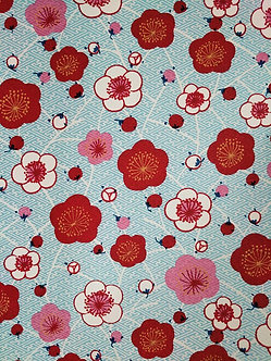 Red, Pink and White Blossoms on Blue #22  Chiyogami Full Sheet (18 x 24 inch)