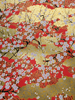 White Plum Blossoms on Gold #10 Chiyogami Full Sheet (18 x 24 inch)