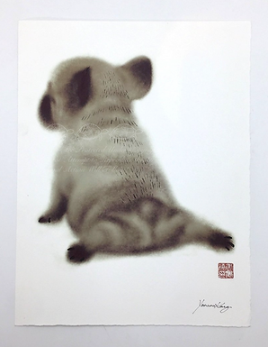 Frenchie Sploot Print by Yannan Connie Kang