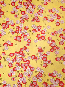 Pink Plum Blossoms on Yellow #9 Chiyogami Full Sheet (18 x 24 inch)