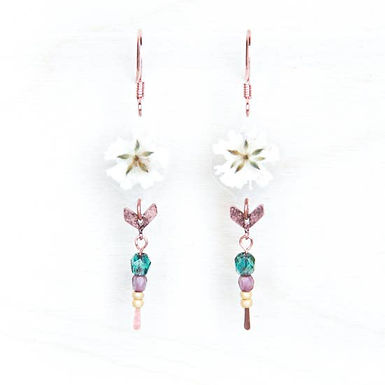 White Baby's Breath Chevron Beaded Earrings by Impressed by Nature
