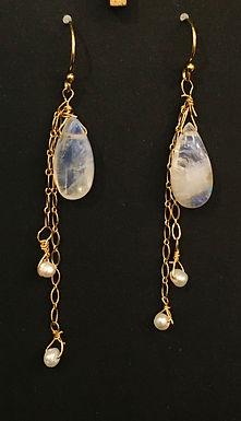 Dainty Moonstone earrings