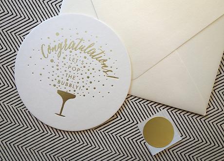 """Congratulations"" Gold Foil Letterpress"